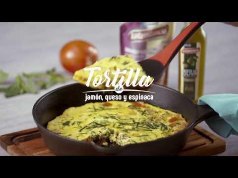 Tortilla de jamón, queso y espinaca